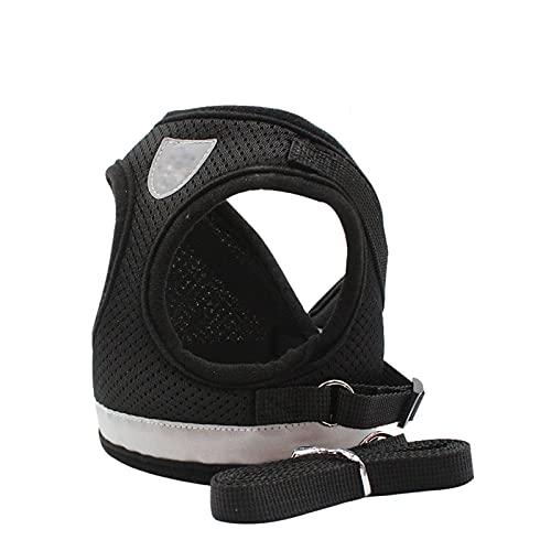 Cxwypd Correa Ajustable y Collar de arnés de Gato de Malla Reflectante para Perros Mascotas para Chaleco de Perro pequeño y Mediano XS/S/M/L/XL (Color : Black, Size : M)