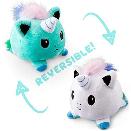 Juguete de peluche reversible, lindo gato de peluche unicornio muñeca doble cara Flip expresión de estado de ánimo regalo para niños, familia, amigos (verde)