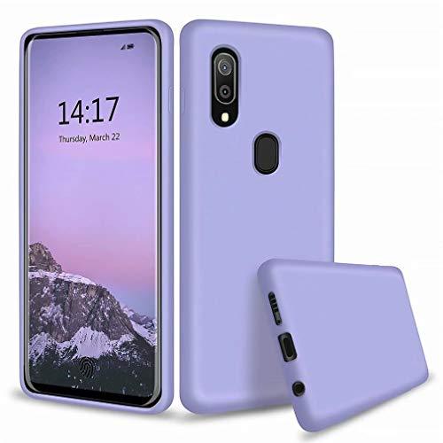Ttimao Kompatibel mit Samsung Galaxy A51/M40S Hülle Flüssiges Silikon Gel Schutzhülle+1*Displayschutzfolie Anti-Schock Handyhülle mit Soft Microfiber Cloth Lining Kissen-Lila