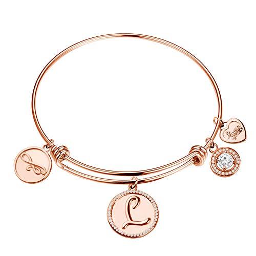 Braccialetti con charm iniziali per le donne regali 26 lettere dell'alfabeto fascino amore cuore espandibile filo braccialetto gioielli di compleanno regali iniziali, 19, Rame,