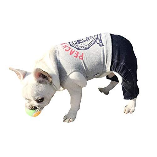 Liuxiaomiao Huisdier kleding, aankleden, koele huisdieren Super Leuke Mouwloos T-shirt Jumpsuit Leuke Beer Patroon Hond Zomer Vest Kleding Kat Vest Grijs + Zwart Comfortabel, stijlvol