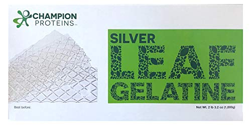 Silver Leaf Gelatin Sheets, 400 Sheets, 170 Bloom, Champion Leaf Gelatine, 1/KG (2.2/Lbs)