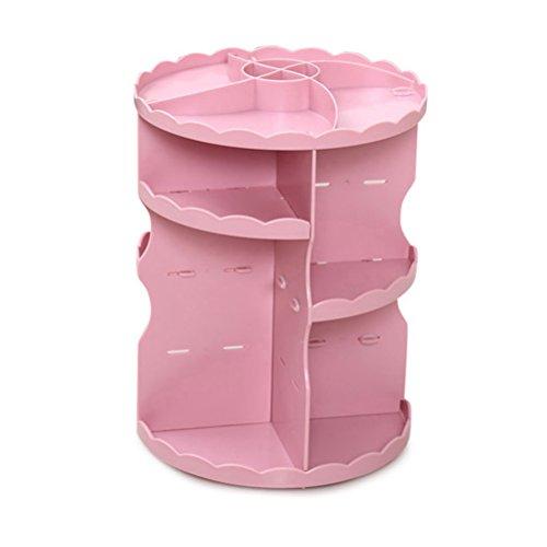 Frcolor Organiseur de maquillage cosmétiques 360 degrés Rotating Round Beauté Maquillage Montre de bijoux Boîte de rangement Multi fonction avec grande capacité (rose)