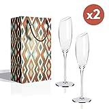 Sektgläser 180 ml - 2er Set Champagnergläser, Bleifreies Kristallglas Abschrägung Mund Champagnerkelche, das perfekte schenk zum Hochzeit,Jubiläum,Weihnachten und Jeder Anlass