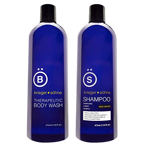 Shampoo for Mens Hair with Invigorating Tea Tree Oil and Body Wash for Men with Argan, Coconut, and Orange Oils, 16oz BUNDLE