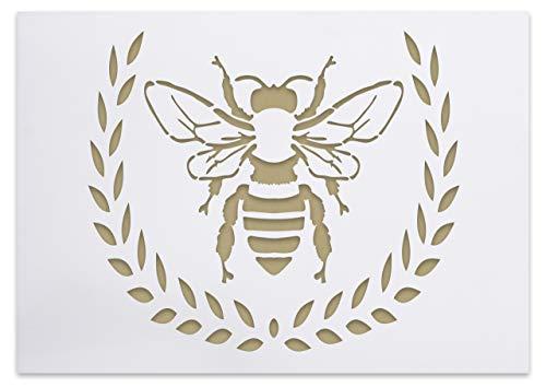 Schablone mit Biene und Kranz