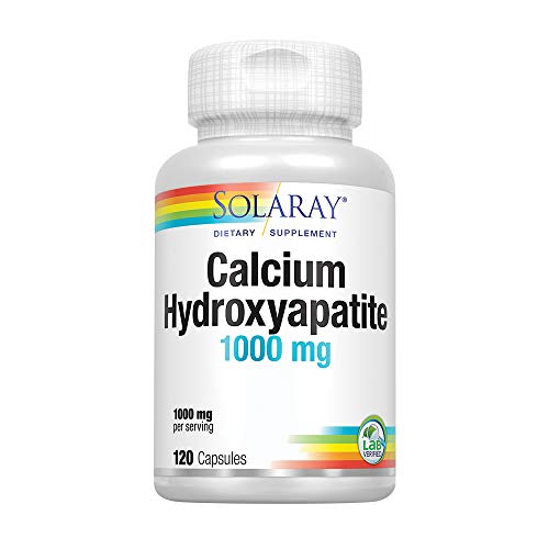Solaray Calcium Hydroxyapatite 1000mg | Highly Advanced Calcium Supplement to Help Support Healthy Bones & Teeth, Nerve & Muscle Function | 120 Caps