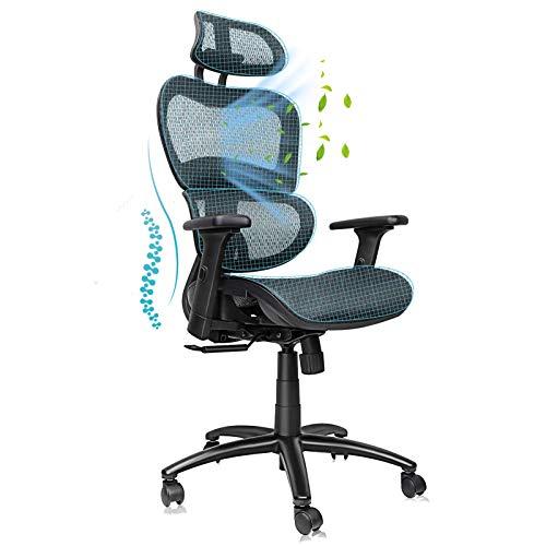 Komene Ergonomischer Bürostuhl, Bürostuhl mit Kopfstütze, Drehbarer Schreibtischstuhl mit Atmungsaktiver Netzrückseite, Verstellbare Kopfstütze, Rückenlehne und Armlehne 3D, 360 ° Rollen, Schwarz