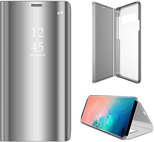 SevenPanda Stand Hülle für Galaxy S6 Edge, Samsung Galaxy S6 Edge Handy Tasche Ultra Slim Transluzente Fensteransicht Flip Wallet Stand CoverLuxus Clear View Spiegel Handyhülle - Silber