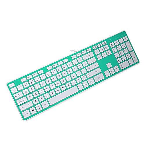 FASDGDFGS Ergonomisch Bedraad USB Slim Silent Gaming Office Toetsenbord met Stofdichte Film, Chocolade Sleutel, voor Win 10/8/7/Vista/XP Mac - Volledige grootte (Groen)