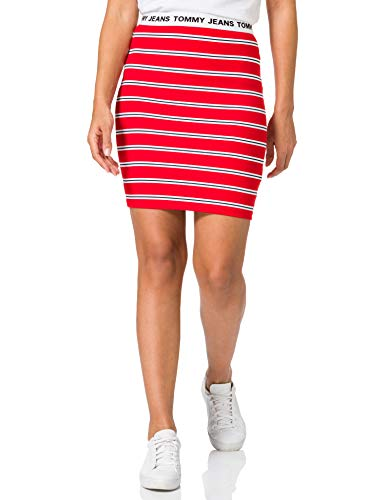 Tommy Jeans TJW Stripe Bodycon Mid Skirt Jupe, Cramois/Multicolore, 48 Femme
