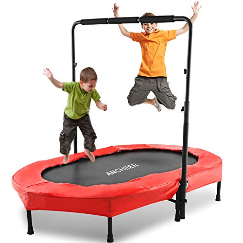 ANCHEER Foldable Trampoline, Mini Rebounder Trampoline with Adjustable Handle, Exercise Trampoline for Indoor/Garden/Workout Cardio, Parent-Child Twins Trampoline, Max Load 220lbs