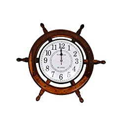 Noor Handicrafts Nautical Moon Light Blue Large Wooden Ship Wheel with Ship's Time Captain's Clock - Pirate Home Decorative Clock (White Dial Face) (24 x 24 x 2 Inches)