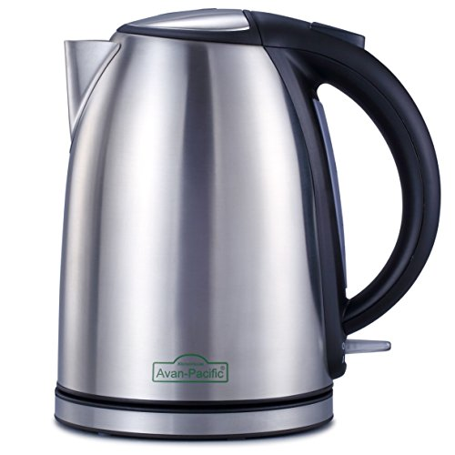 Avan-Pacific 1.8 Liter 1500Watts ETL Stainless Steel 360°Cordless Electric Kettle Water Boiler Thermostat Control 9 Cups Automastically Shut-Off with Boil Dry Protection (Silver)