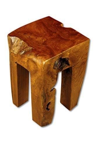 Kinaree Holz Beistelltisch BAN CHOM - 42cm Teakholz Hocker aus Wurzelholz, Podest, Hocker, Blumenständer, Nachttisch, Blumenhocker