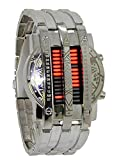 Binary Matrix Blue LED Digital Watch Mens Classic Creative Fashion Black Plated Wrist Watches (Silver Red)