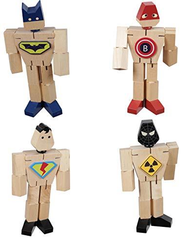 Gerileo Lote de 4 Robots Transformers Super Heroes de Madera con Bolsa de Transporte de Tela - Juguete de Madera – Puzzle Rompecabezas – Transformación de Figuras en Coches, Animales y Otras Figuras.