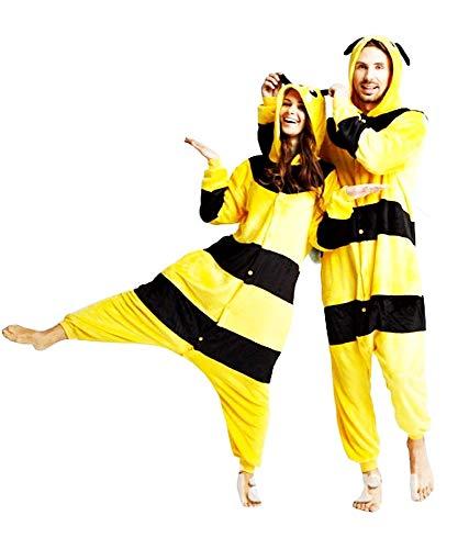 Lovelegis Disfraz de Carnaval Pikachu - Pijama de Noche Pokemon - Hombre - Mujer - Amarillo - Rayas Negras - Adultos - niños - Talla m - Idea cumpleaños