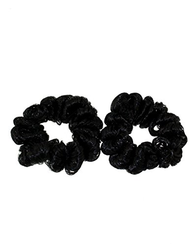 Zac's Alter Ego Pair of Black Faux Synthetic Curly Hair Scrunchies
