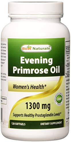Best Naturals Evening Primrose Oil 1300 mg 120 Softgels - Made from Non-GMO Hexane Free Cold Pressed Oil