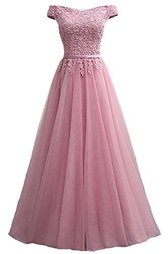 Callmelady Abendkleider Elegant für Hochzeit Spitze Ballkleid Lang Damen (Altrosa, EU54)