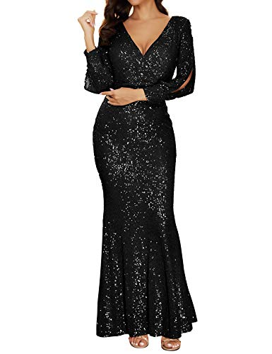 Women's V Neck Long Sleeve Sequin Bridesmaid Dress Gown Evening Party Dress (Black, S) (Apparel)