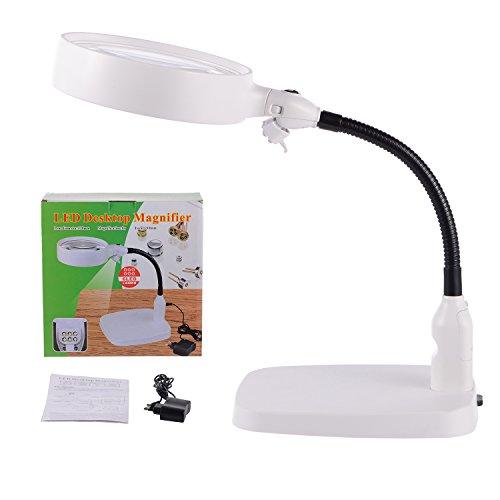 tm-home 8X Lupa grande - Diseño plegable con 6 luces LED de ahorro de energía - La mejor lámpara de lupa manos libres con luces para lectura, hobbies, manualidades, banco de trabajo