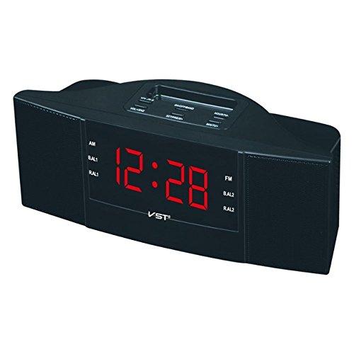 Renfengchui antik am/Fm elektronisk radioklocka med väckarklocka och snooze-funktion, modern Ps/Abs kropp LED digital display upplyst klocka röd