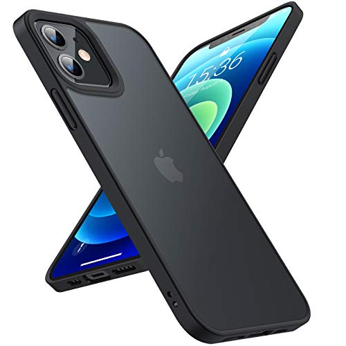 TORRAS Hülle Kompatibel mit iPhone 12 Mini [Echter Militärischer Schutz] Slim Matt Leicht Durchsichtig [Hard Back & Soft Bumper] Handyhülle iPhone 12 Mini Hülle iPhone 12 Mini Schuzthülle Schwarz