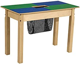 Wood Designs TP1631SGN20-BG Time-2-Play Lego Compatible Table with Storage for Kids/Toddlers, Blue & Green, 20.5