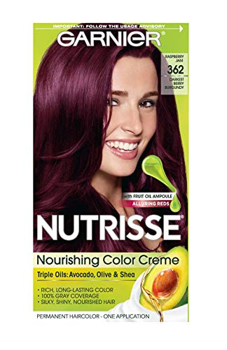 Garnier Nutrisse Nourishing Hair Color Creme, 362 Darkest Berry Burgundy (Packaging May Vary)