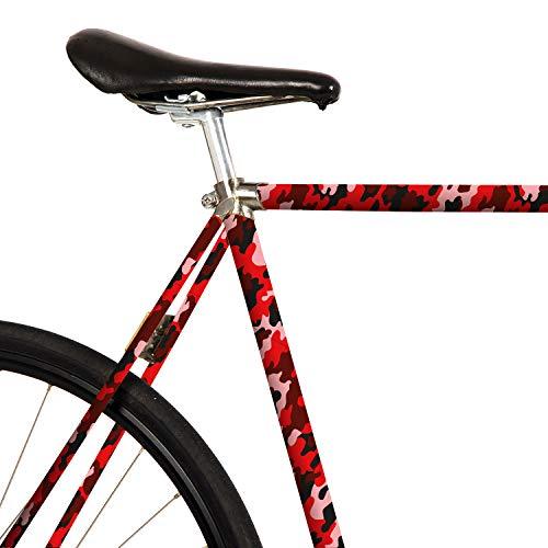 MOOXIBIKE Coral Camouflage rot Mini Fahrradfolie mit Muster für Rennrad, MTB, Trekkingrad, Fixie, Hollandrad, Citybike, Scooter, Rollator für circa 13 cm Rahmenumfang