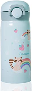 Kids Water Bottle Thermoses Cute Raccoon, Thermal Vacuum Cups for Kids, BPA Free Stainless Steel Insulated Leak-proof Flask for Boys and Girls School Kids Indoor Outdoor Sports (Green Raccoon-12oz)
