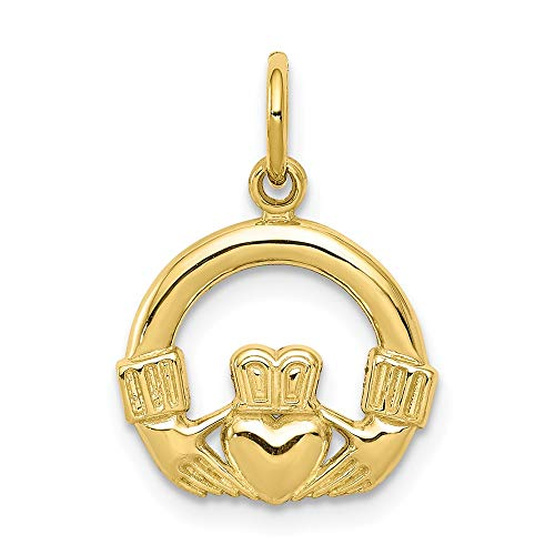 10k Yellow Gold Irish Claddagh Celtic Knot Pendant Charm Necklace Fine Jewelry For Women Gifts For Her
