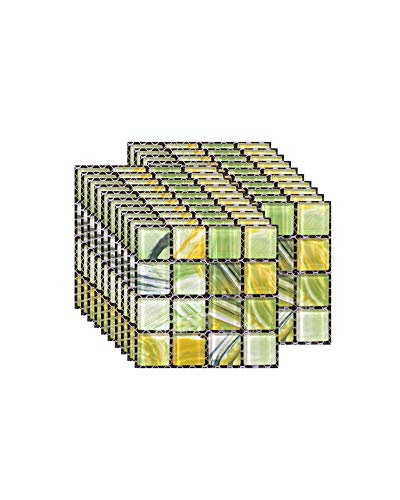 FBBULES 20PCS Fliesenaufkleber PVC, Fliesen Klebefolie Selbstklebend Hitzebeständig Wasserdicht Fliesensticker für Küche Fliesendekor Wandaufkleber Mosaikstil Gras-Grün (10 x 10 cm / 4 x 4 Zoll)