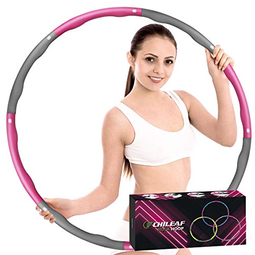 CHILEAF Hoola Hoop for Adults & Kids Weight Loss, 8 Section Detachable Adjustable Fitness Circle, Weigted Soft Yoga Ring, Premium Quality Home Gym Exercise Equipment, Weighted 1 kg