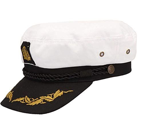 Balke Kapitänsmütze mit Goldener Stickerei, Farbe:weiß, Größe:56