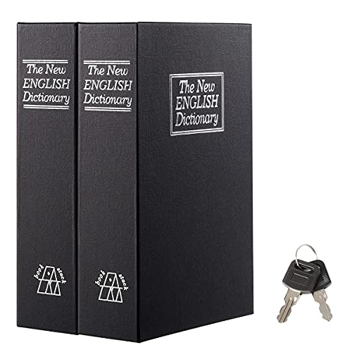 """Jssmst 2 Pack Book Safe with Key Lock, Dictionary Diversion Book Safe Seceret Hidden Book with Safe Inside, Fake Book Money Safe Metal Lock Box, 9.5"""" x 6.2"""" x 2 .2"""", Black"""