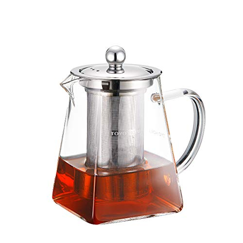 TOYO HOFU Tea Pot with Infusers for Loose Tea, Clear Glass Teapot with Removable 304 Strainer Steel Infuser,Stovetop Safe Tea Maker 600 ml/20 oz