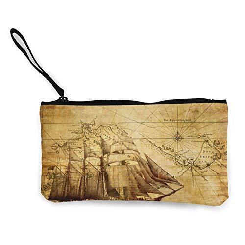 Old World Map Frigate Portable Women Canvas Portamonete Borse portaoggetti Piccolo portafoglio Cerniere Cosmetici da viaggio