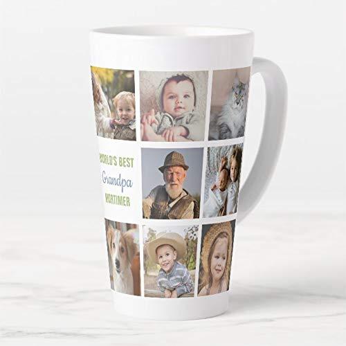 445 ml. Kubek do kawy, Worlds Best Grandpa imię Instagram zdjęcie kolaż latte kubek, ceramiczny kubek podróżny latte z pokrywką i łyżką, kubek do herbaty