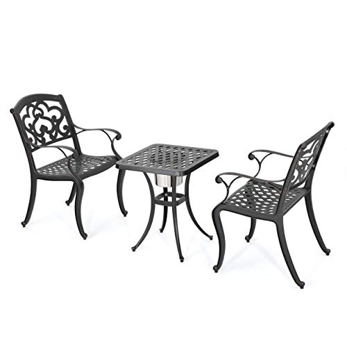 Christopher Knight Home Ariel Outdoor Aluminum Bistro Set with Ice Bucket, 3-Pcs Set, Shiny Copper