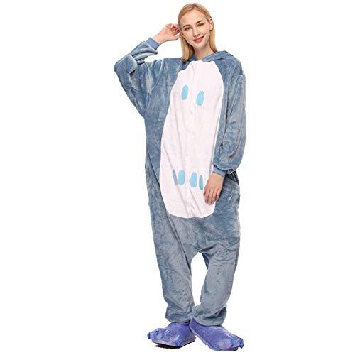 NEE Animals Pajama Plush Onesie Cartoon Cute Warm Cosplay Sleepwear Unisex Adults Long Sleeves Autumn Winter Hooded JacketGrayXL
