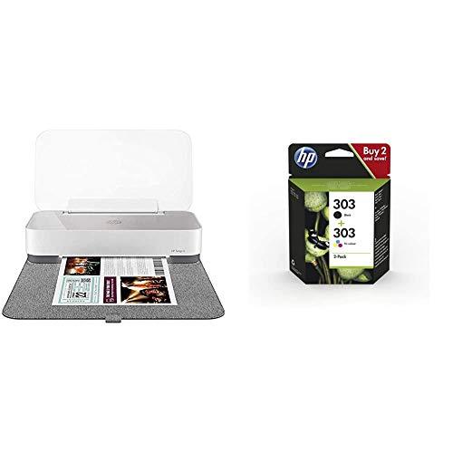 HP Tango X Impresora Tinta, Color, Wi-Fi, Compatible con Instant Ink (3DP65B) + 303XL 3YN10AE Negro y Tricolor, Cartuchos de Tinta de Alta Capacidad Originales
