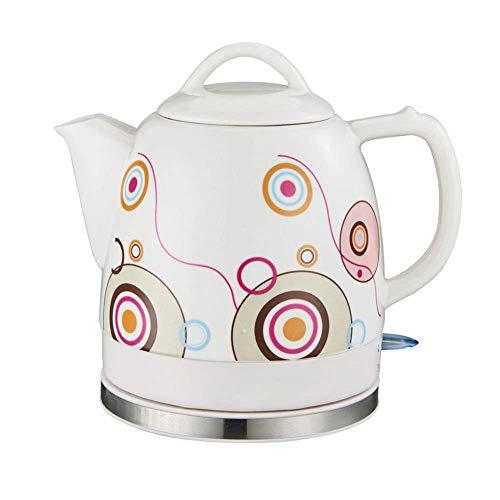 SCXY Tetera de hervidor inalámbrico de cerámica eléctrica, 1.2L, 1200W de Agua rápido para té, café, Sopa, Base removible de Avena, protección contra secas