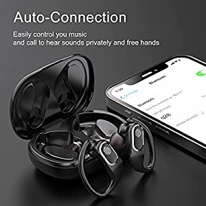 Wireless Earbuds Sports Bluetooth Headphones Call Noise Reduction 48hrs Play 3D Deep Bass in Ear Earphones with Earhooks, 1000mAh Charging Case, Waterproof Built-in HD Mic Headset for Workout Running