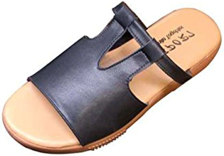 Gracosy Platform Sandals, Women's Leather Wedge Sandals Slip On Open Toes Slides Fashion Flip Flops shoes