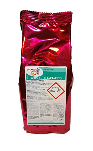 Ácido Tartárico E-334 de uso alimentario. 1 Kilo. Conservante natural y corrector de acidez del vino.