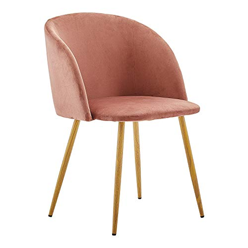 Dorafair Upholstered Dining Chairs Velvet Armchair Mid Century Modern Chairs Living Room Chair Makeup Chair Side Chairs with Wood-Look Metal Legs, Rose Pink