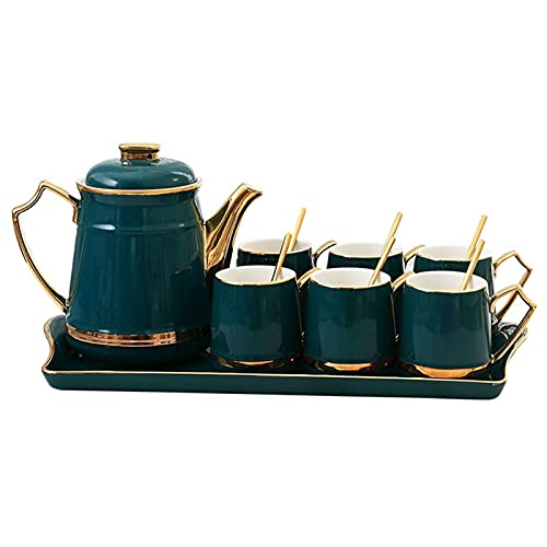 Tea Set,Dark Green Coffee Cup Painted Golden Edge Solid Color Cup Ceramic Teapot 230Ml Tea Cup 1250 Ml China Afternoon Tray Tea